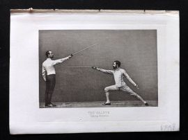 Badminton Library 1893 Antique Sword Fencing Print. The Salute, Taking Distance